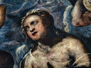 Le Paradis de Tintoret, détail d'un ange blond en adoration, au Palais des Doges de Venise