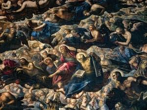 Le Paradis de Tintoret, Séraphins, Trônes et Principautés, Saint-Thomas avec son équerre, Saint-Philippe avec sa croix, Saint-Barthélémy et son couteau, Saint-Pierre avec sa clé, Adam et Ève, Saint-Paulau Palais des Doges de Venise