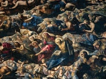 Le Paradis de Tintoret, Séraphins, Trônes et Principautés, saint Thomas avec son équerre, saint Philippe avec sa croix, saint Barthélémy et son couteau, saint Pierre avec sa clé, Adam et Ève, saint Paulau Palais des Doges de Venise