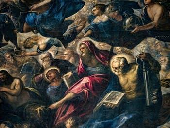 Le Paradis de Tintoret, Trônes et Principautés, saint Philippe avec sa croix, saint Barthélémy et son couteau, saint Pierre avec sa clé, au Palais des Doges de Venise