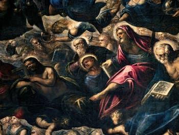 Le Paradis de Tintoret, saint Thomas avec son équerre, saint Philippe avec sa croix, saint Barthélémy et son couteau, au Palais des Doges de Venise