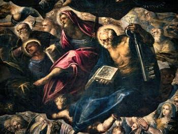 Le Paradis de Tintoret, saint Philippe avec sa croix, saint Barthélémy et son couteau, saint Pierre avec sa clé, au Palais des Doges de Venise
