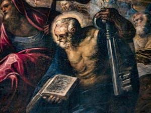 Le Paradis de Tintoret, Saint-Pierre avec sa clé, au Palais des Doges de Venise