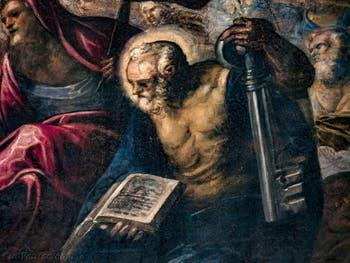 Le Paradis de Tintoret, saint Pierre avec sa clé, au Palais des Doges de Venise