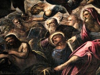 Le Paradis de Tintoret, saint Thomas avec son équerre, saint Philippe avec sa croix, saint Barthélémy, au Palais des Doges de Venise
