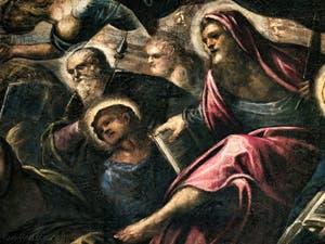Le Paradis de Tintoret, Saint-Philippe avec sa croix, Saint-Barthélémy et son couteau, au Palais des Doges de Venise