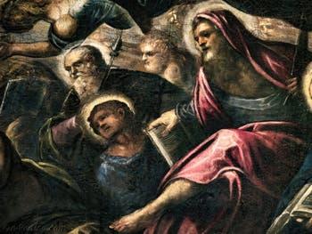 Le Paradis de Tintoret, saint Philippe avec sa croix, saint Barthélémy et son couteau, au Palais des Doges de Venise