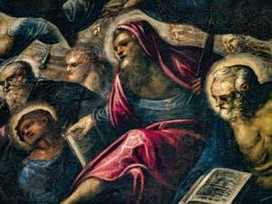 Le Paradis de Tintoret, Saint-Philippe avec sa croix, Saint-Barthélémy et son couteau, l'apôtre Saint-Pierre, au Palais des Doges de Venise