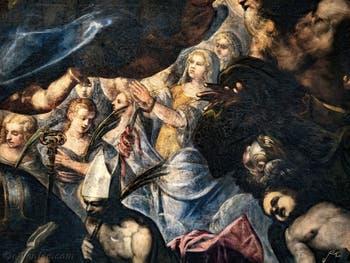 Le Paradis de Tintoret, sainte Christine avec le serpent et les tenailles, au Palais des Doges de Venise