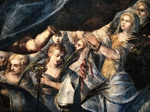 Le Paradis de Tintoret, Sainte-Christine avec les tenailles et le serpent enroulé sur elles, au Palais des Doges de Venise