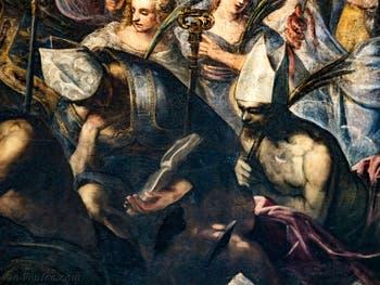 Le Paradis de Tintoret, détails d'évêques et Saints martyrs, au Palais des Doges de Venise