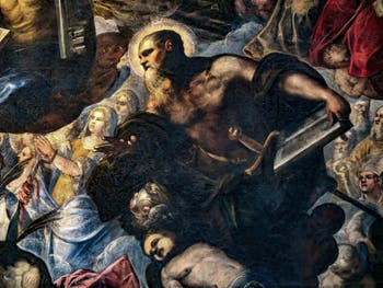 Le Paradis de Tintoret, sainte Christine avec les mains dans les pinces et saint Paul, au Palais des Doges de Venise