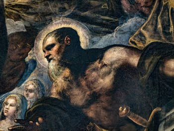 Le Paradis de Tintoret, l'apôtre saint Paul devant sainte Christine en bas à gauche, au Palais des Doges de Venise
