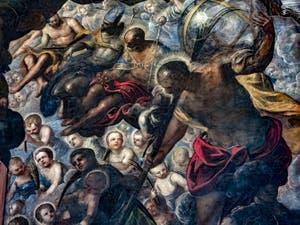 Le Paradis de Tintoret, Saint-Nicolas et les trois sphères, Rachel et ses enfants, Saint-Christophe et son globe, au Palais des Doges de Venise