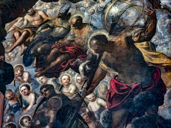 Le Paradis de Tintoret, saint Nicolas et les trois sphères, Rachel et ses enfants, saint Christophe et son globe, au Palais des Doges de Venise