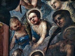 Le Paradis de Tintoret, détail de Rachelle et de ses enfants, au Palais des Doges de Venise