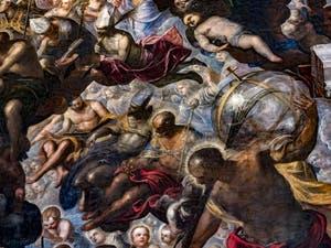 Le Paradis de Tintoret, Saint-Nicolas de Bari et ses trois sphères d'or, Saint-Christophe et son globe, au Palais des Doges de Venise