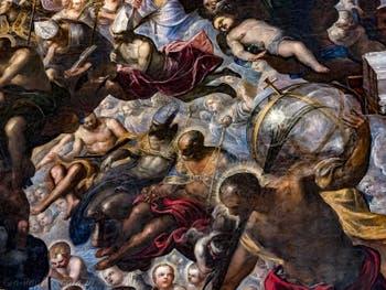 Le Paradis de Tintoret, saint Nicolas de Bari et ses trois sphères d'or, saint Christophe et son globe, au Palais des Doges de Venise