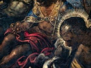 Le Paradis de Tintoret, portrait de Saint-Christophe devant Saint-Nicola de Bari, au Palais des Doges de Venise