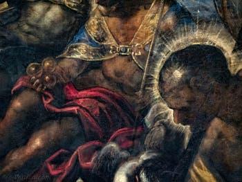 Le Paradis de Tintoret, portrait de saint Christophe devant saint Nicolas de Bari, au Palais des Doges de Venise