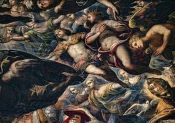 Le Paradis de Tintoret, anges couronnés et saint Grégoire, au Palais des Doges de Venise
