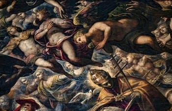 Le Paradis de Tintoret, saint Grégoire le Grand, père de l'église, sa colombe et sa tiare pontificale, au Palais des Doges de Venise