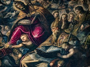 Le Paradis de Tintoret, Saint-Grégoire et Saint-Augustin, au Palais des Doges de Venise