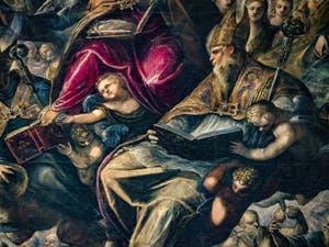 Le Paradis de Tintoret, saint Augustin, sa crosse d'évêque et son livre, au Palais des Doges de Venise