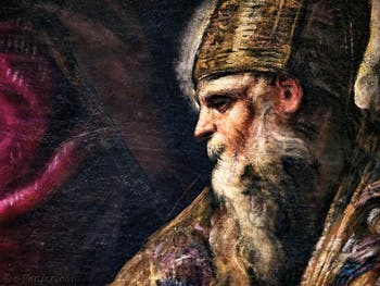 Le Paradis de Tintoret, portrait de saint Augustin, au Palais des Doges de Venise