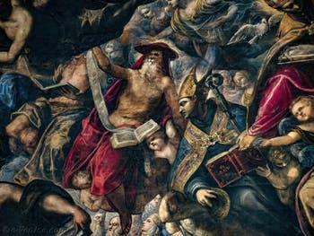 Le Paradis de Tintoret, saint Jérôme et saint Ambroise, au Palais des Doges de Venise