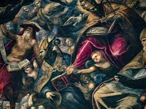 Le Paradis de Tintoret, saint Jérôme ermite, saint Ambroise et saint Grégoire le Grand, au Palais des Doges de Venise