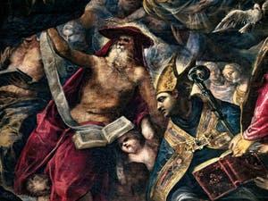 Le Paradis de Tintoret, saint Jérôme ermite avec sa bible et saint Ambroise, au Palais des Doges de Venise