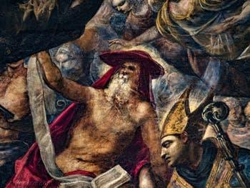 Le Paradis de Tintoret, saint Jérôme ermite et saint Ambroise, au Palais des Doges de Venise