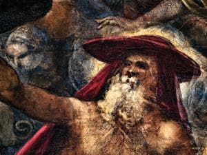 Le Paradis de Tintoret, portrait de saint Jérôme ermite avec son chapeau de cardinal, au Palais des Doges de Venise