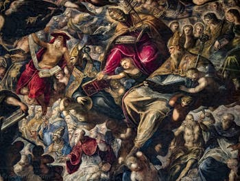 Le Paradis de Tintoret, les quatres pères de l'église latine, saint Jérôme ermite avec son chapeau de cardinal, saint Ambroise de Milan, saint Grégoire le Grand et saint Augustin, au Palais des Doges de Venise