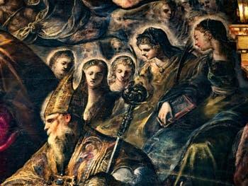 Le Paradis de Tintoret, saint Augustin et sa mère Monique, au Palais des Doges de Venise