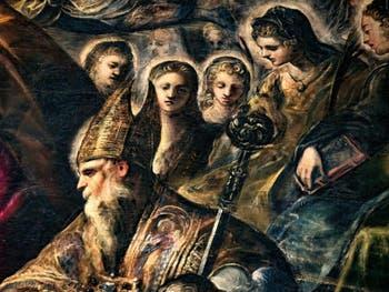 Le Paradis de Tintoret, saint Augustin avec sa crosse d'évèque et sa mère Monique, au Palais des Doges de Venise
