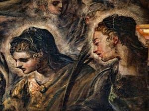 Le Paradis de Tintoret, Monique, la mère de saint Augustin, père de l'église latine, au Palais des Doges de Venise