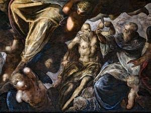 Le Paradis de Tintoret, saint Blaise et l'oiseau, au Palais des Doges de Venise