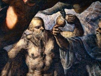 Le Paradis de Tintoret, saint Blaise et l'oiseau qui lui apporte du pain, au Palais des Doges de Venise