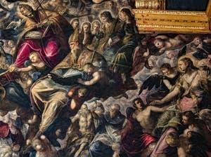 Le Paradis de Tintoret, saint Grégoire le Grand, saint Augustin, sainte Monique, saint Blaise et Marie-Madeleine, au Palais des Doges de Venise