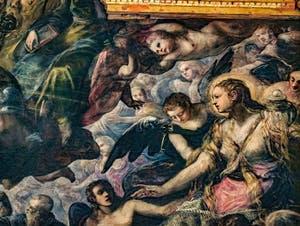 Le Paradis de Tintoret, Sainte Marie-Madeleine, à la poitrine dénudée recouverte en partie par ses longs cheveux et qui tient un vase à parfums, au Palais des Doges de Venise