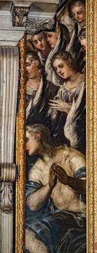 Les anges du côté droit du tableau du Paradis de Tintoret au Palais des Doges de Venise