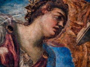 Le Tintoret, le Doge Girolamo Priuli reçoit de la Justice la balance et le glaive, plafond de l'Atrium carré du Palais des Doges à Venise