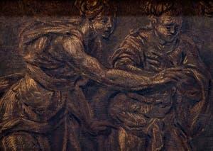 Le Tintoret, le Jugement de Salomon, huile sur toile au plafond de l'Atrium carré du Palais des Doges de Venise
