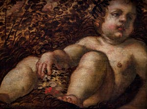 Le Tintoret, le Printemps, huile sur toile au plafon de l'Atrium Carré du Palais des Doges de Venise