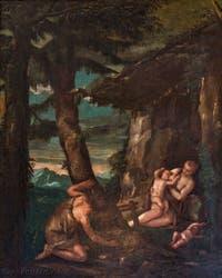 Paul Véronèse, Adam et Ève au jardin d'Éden, huile sur toile dans le salon de l'Atrium carré du Palais des Doges à Venise