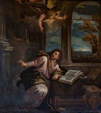 Paul Véronèse, saint Jean l'évangéliste écrit l'Apocalypse, dans le salon de l'Atrium carré du Palais des Doges à Venise