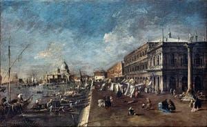 Francesco Guardi Vue du môle et de l'église Santa Maria della Salute, Galerie Franchetti Ca' d'Oro à Venise en Italie