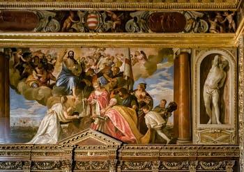Paul Véronèse, Sebastiano Venier assisté des Saint Mauro et Giustinia, entre la Foi et Venise, remercie le Rédempteur pour la victoire de Lépante, Salle du Collège du Palais des Doges de Venise